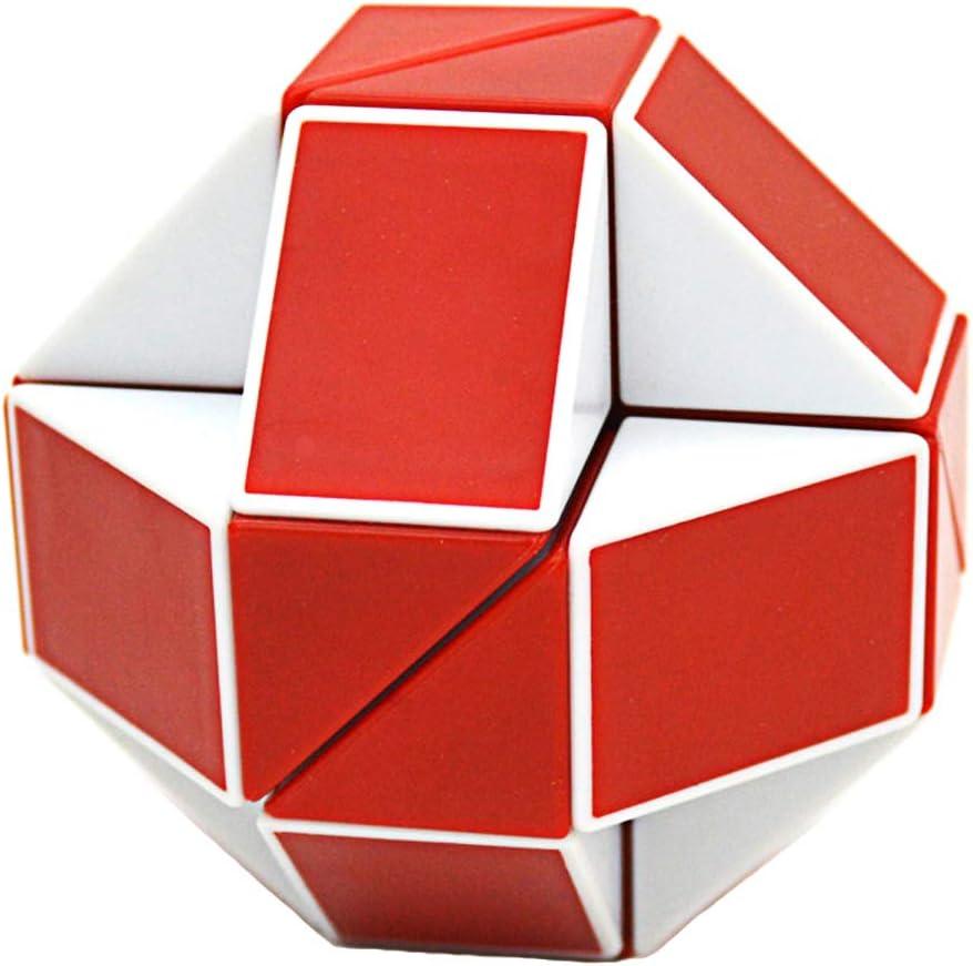 Blanc//Rouge 24 Pi/èces Regle Magique Snake Puzzle Twist Cadeaux pour Enfants COOJA Serpent Magique