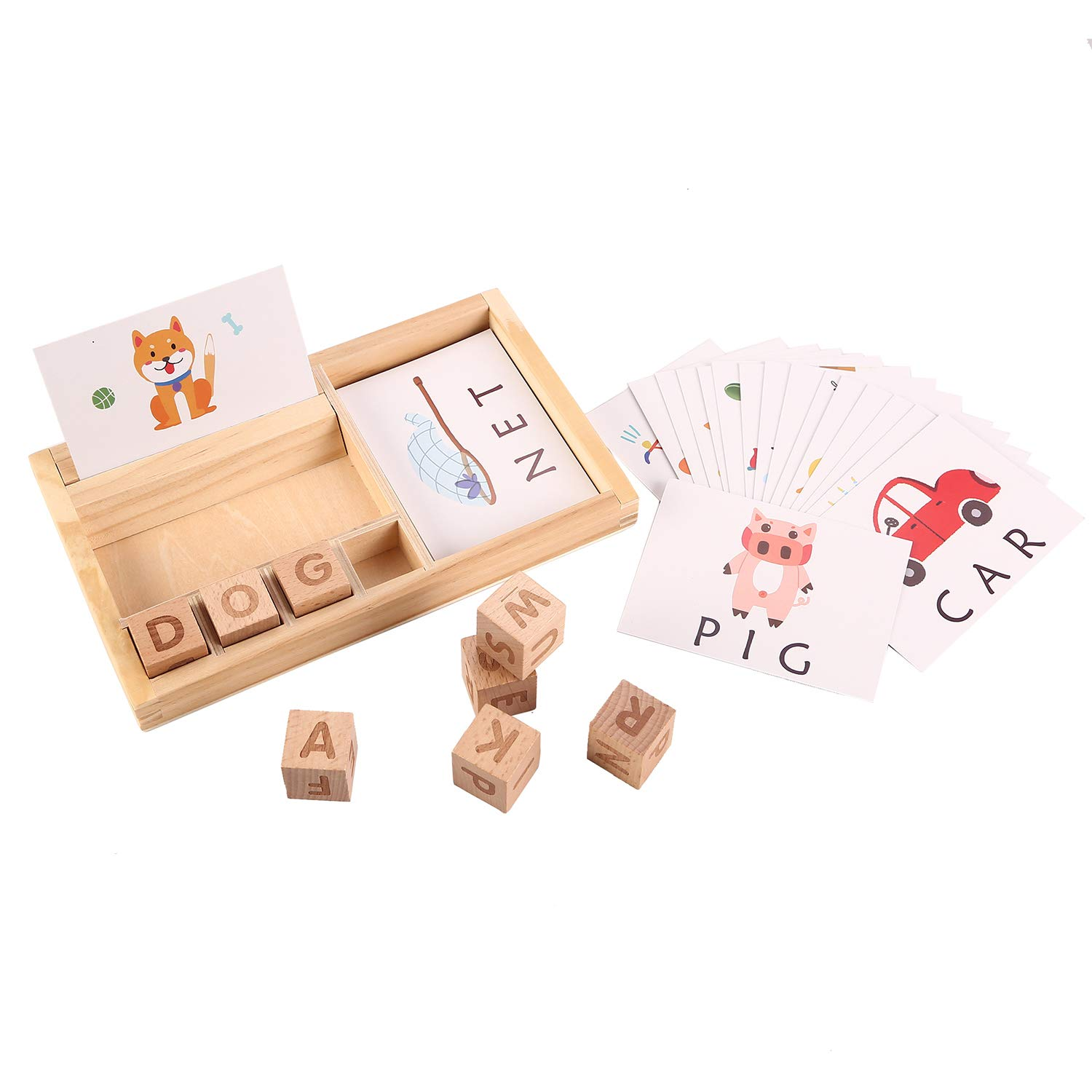 Joqutoys Wooden Educational Toys Learning Matching Letter Games and Develops Alphabet Words Spelling Skills Letter Block for Girls Boys Gift(30pcs Cards) by Joqutoys