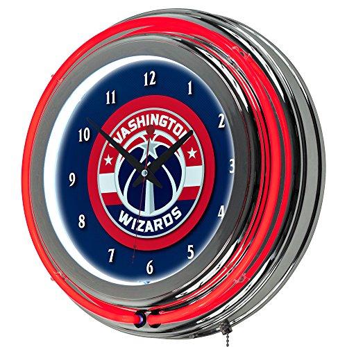 Washington Nationals Clock (NBA Washington Wizards Chrome Double Ring Neon Clock, 14
