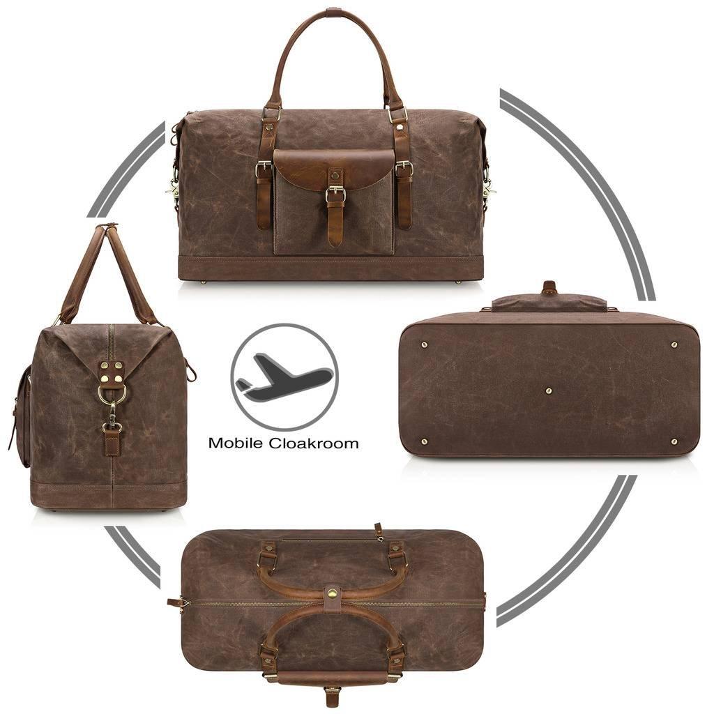 Plambag Oversized Duffel Bag, Waterproof Canvas Leather Trim Overnight Luggage Bag(Coffee) by Plambag (Image #4)