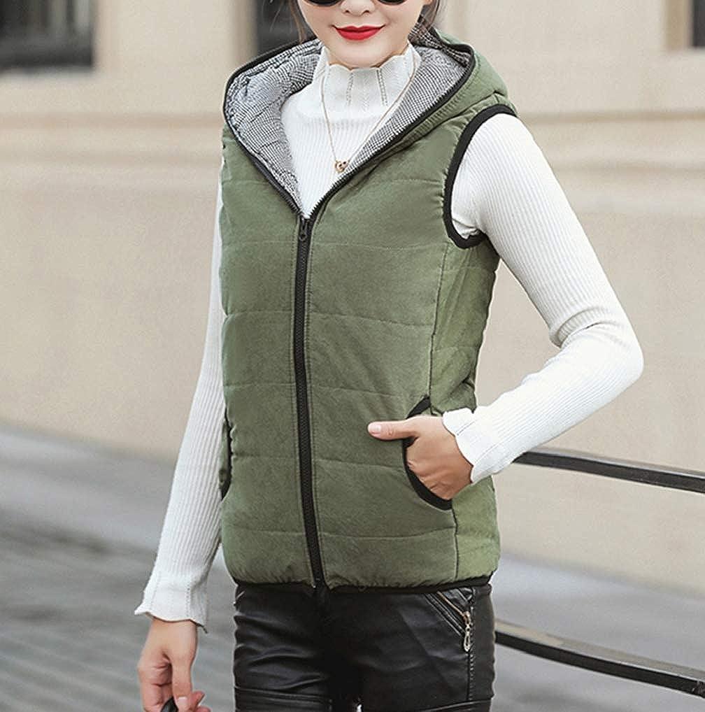 FNKDOR Femmes Doudoune sans Manche Gilet Ultra Légère Veste Manteau Parka Blouson à Capuche Hiver Chaud Zippée A-vert