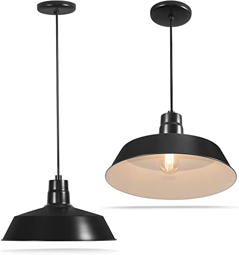 14-inch Industrial Black Pendant Barn Light Fixture with 10ft Adjustable Cord, Ceiling-Mounted Vintage Hanging Light Fixture for Indoor Use, 120V Hardwire, E26 Base LED Compatible, UL Listed 2Pack