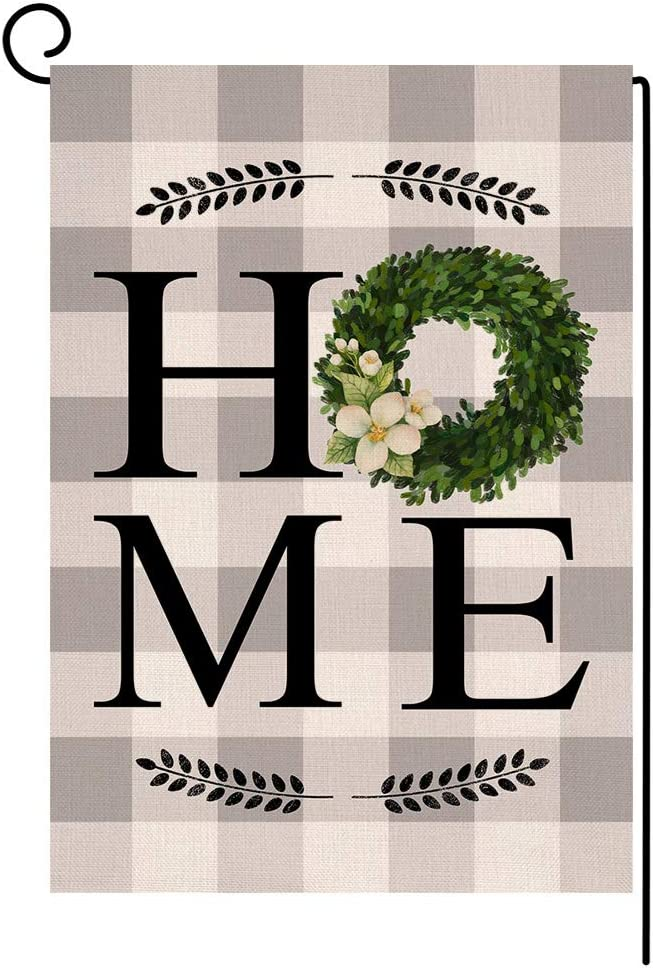 Spring Home Boxwood Small Garden Flag Vertical Double Sided Burlap Yard Outdoor Decor 12.5 x 18 Inches (190120)