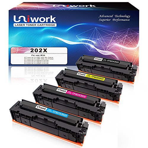 Uniwork 202X M281fdw Compatible Toner Cartridge Replacement for HP 202X 202A CF500X CF500A use for Laserjet Pro MFP M281fdw M254dw M281cdw M281 m281dw M280nw Printer Ink (Black Cyan Magenta Yellow) ()