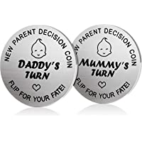 New Dad Mom Gifts Decision Coin,LucBuy Funny Newborn New Baby Gift New Parents Gift Pregnancy Gift for First Time Mummy…
