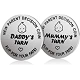 New Dad Mom Gifts Decision Coin,LucBuy Funny Newborn New Baby Gift New Parents Gift Pregnancy Gift for First Time Mummy Daddy