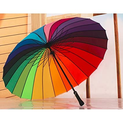 9f2cd831b5be8 Top Quality Umbrella 24k Rib Rainbow Fashion Long Handle Straight Anti-UV  Sun/Rain