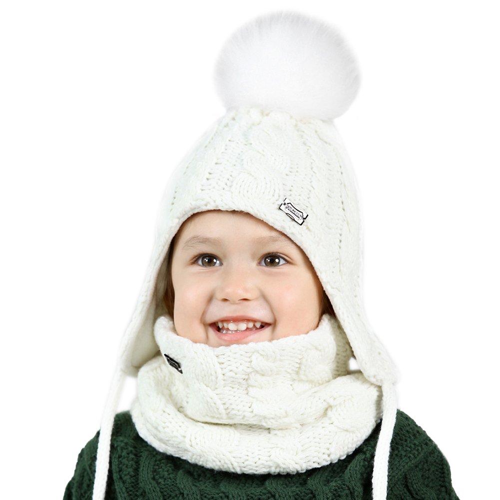 Kids Baby Winter Beanie Hat - Real Fur Pom Pom Hats Scarf Set For Girls Toddler Children FURTALK Original (Small White)