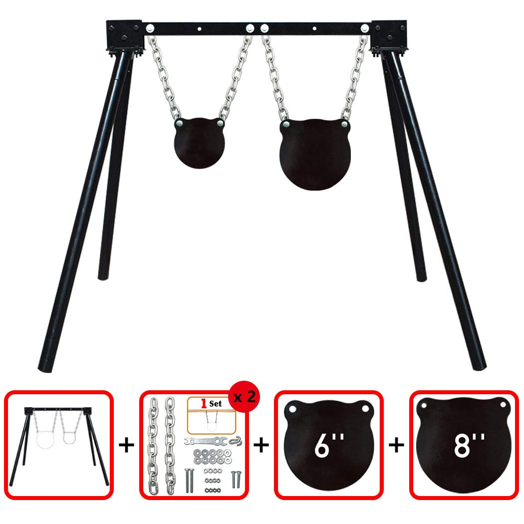 """Highwild AR500 Steel Shooting Target System (1 Stand, 2 Chain Sets & 6""""+8"""" Gongs)"""