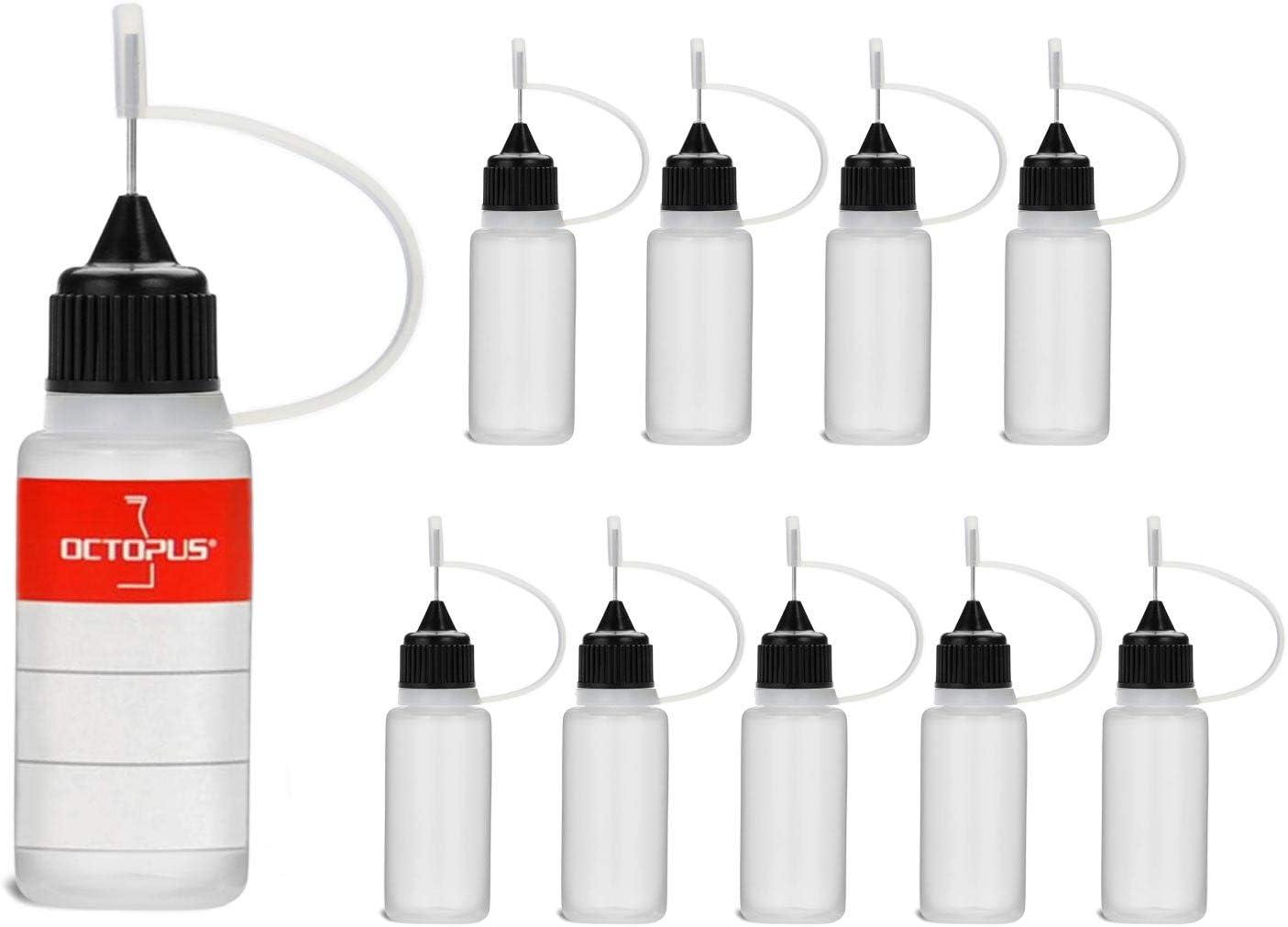 10 Botellas de recarga con aguja Octopus de 10 ml, botella para líquidos electrónicos para shishas electrónicas y cigarrillos electrónicos, aceites, tintas y pegamentos, botellas vacías de plástico LD