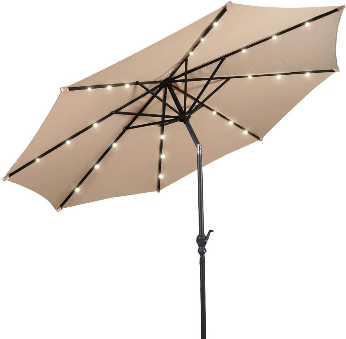 Giantex 10ft Solar Patio Umbrella Sunbrella with Lights, 8 Ribs Market Steel Tilt w Crank for Garden, Deck, Backyard, Pool Indoor Outdoor Use Beige NewStyle