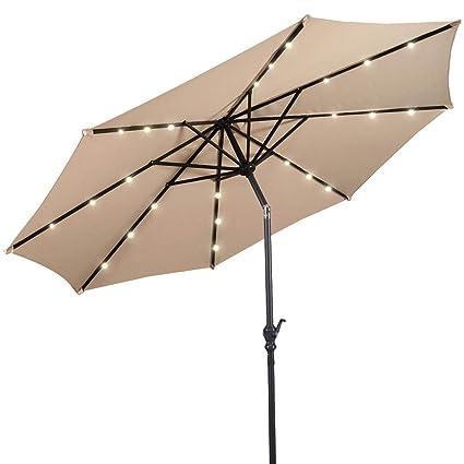 Giantex 10ft Solar Patio Umbrella Sunbrella With LED Lighted, 8 Ribs Market  Steel Tilt W