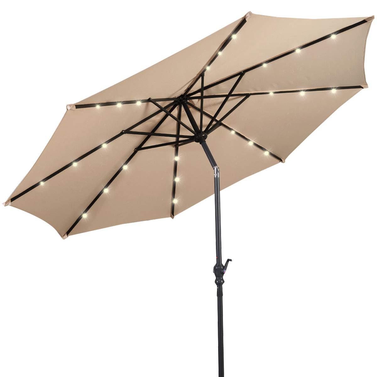 Giantex 10ft Solar Patio Umbrella Sunbrella with LED Lighted, 8 Ribs Market Steel Tilt w/Crank for Garden, Deck, Backyard, Pool Indoor Outdoor Use, Beige NewStyle by Giantex