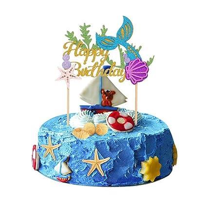 Buy Leegoal Glitter Mermaid Cake Topper Mermaid Happy Birthday Cake