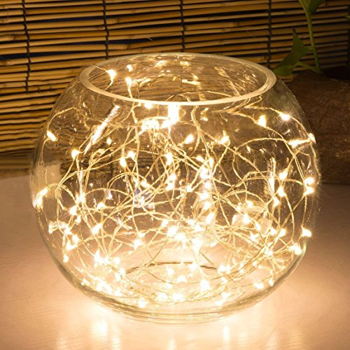 LSHCX Battery-Powered Christmas String Lights Decorative Rope Fairy Starry  Lights for Home Patio Garden Party Commercial Lighting(9.8' 30 LEDs Warm  White)