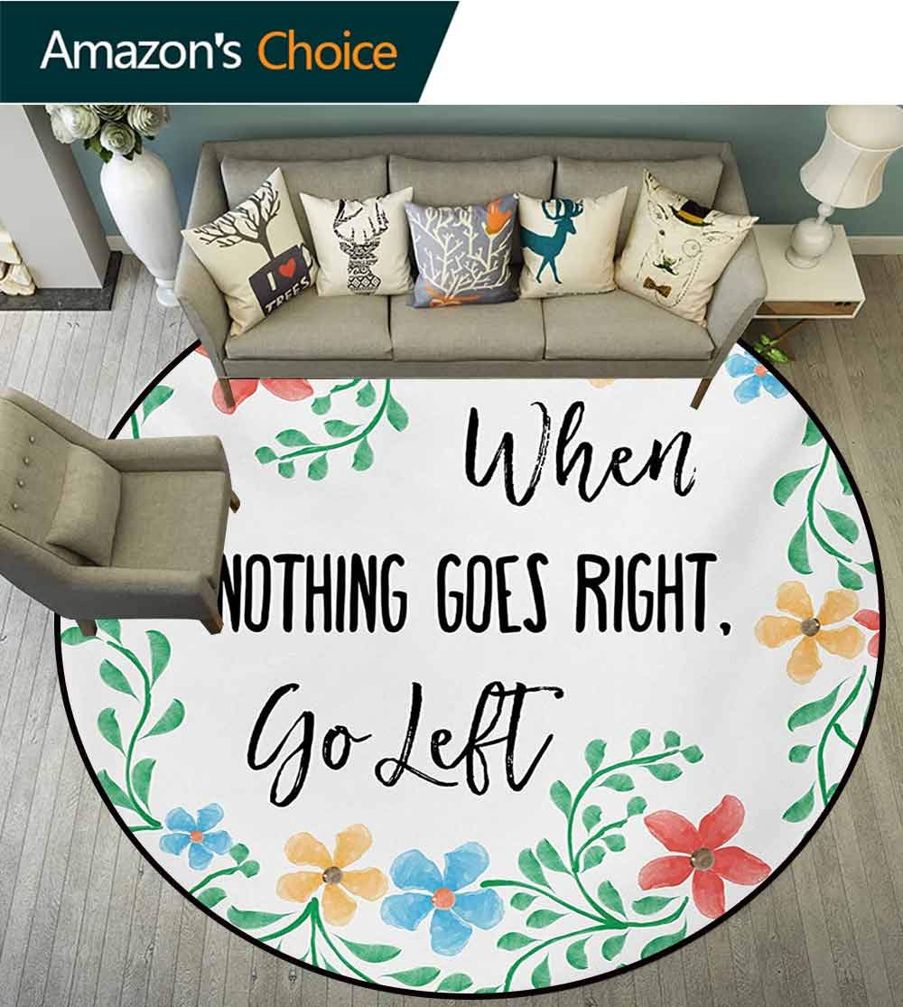 RUGSMAT Funny Words Modern Washable Round Bath Mat,Fresh Watercolor Flowers Frame with an Inspirational Saying About Life Wisdom Non-Slip Bathroom Soft Floor Mat Home Decor,Round-31 Inch