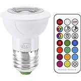 iLC LED Lampadine Faretto colorate Edison Cambiare colore Lampadina RGB Bianco Caldo 2700K Equivalenti a 20 W Dimmerabile - 12 Scelte di Colore - 3 Watt E27 RGBW Colori - Telecomando Incluso
