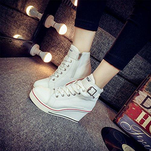 Kvinnor Canvas Högklackade Plattform Kil Mode Sneaker Pump Skor Vit