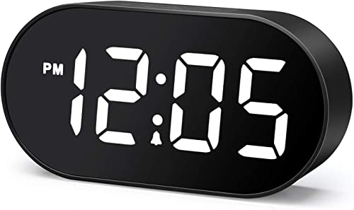 Plumeet LED Alarm Clocks Digital Clock with Dimmer and Snooze – 2 Level Alarm Volume Optional – Large White Digit Display Bedside Clocks with USB Port Phone Charger – Simple Operation White