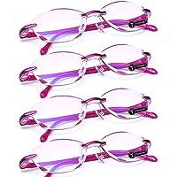 TERAISE 4 stks Leesbril Mode Anti-Blauw Licht Kwaliteit Lezers Diamant Snijden Ontwerp Antivermoeidheid voor Vrouwen…