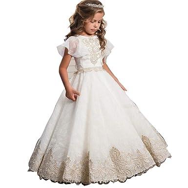 56a9b0ea1 Amazon.com  Iris45Felton Princess White Lace Tulle Girl Dress Kids ...