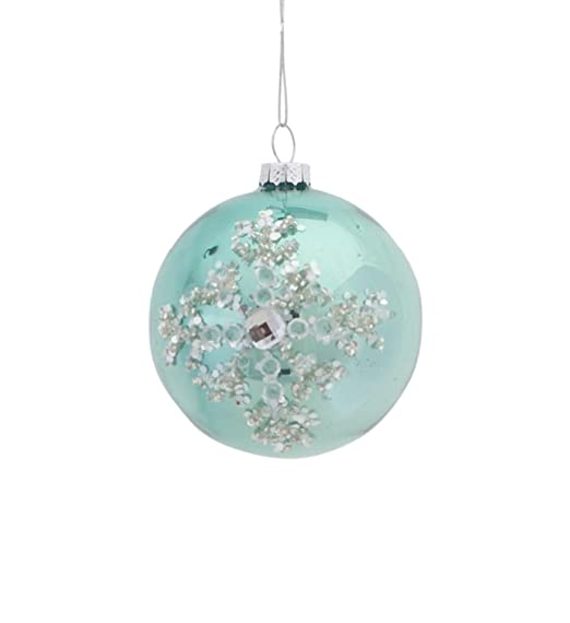 Christmas Tablescape Decor - Silent Luxury Pale Green Jeweled Icy Snowflake Glass Ball Christmas Ornament
