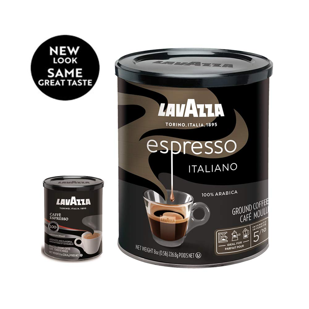 Lavazza Espresso Italiano Ground Coffee Blend, Medium Roast, 8-Ounce Cans,Pack of 4