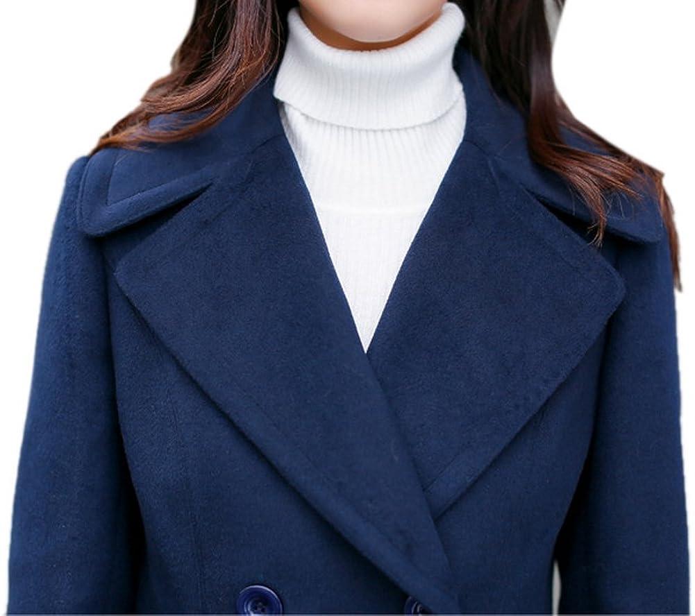Vshop-2000 Womens Juniors Black Lapel Double Breasted Trech Coat Overcoat Pea Wool Coat Outwear Jacket