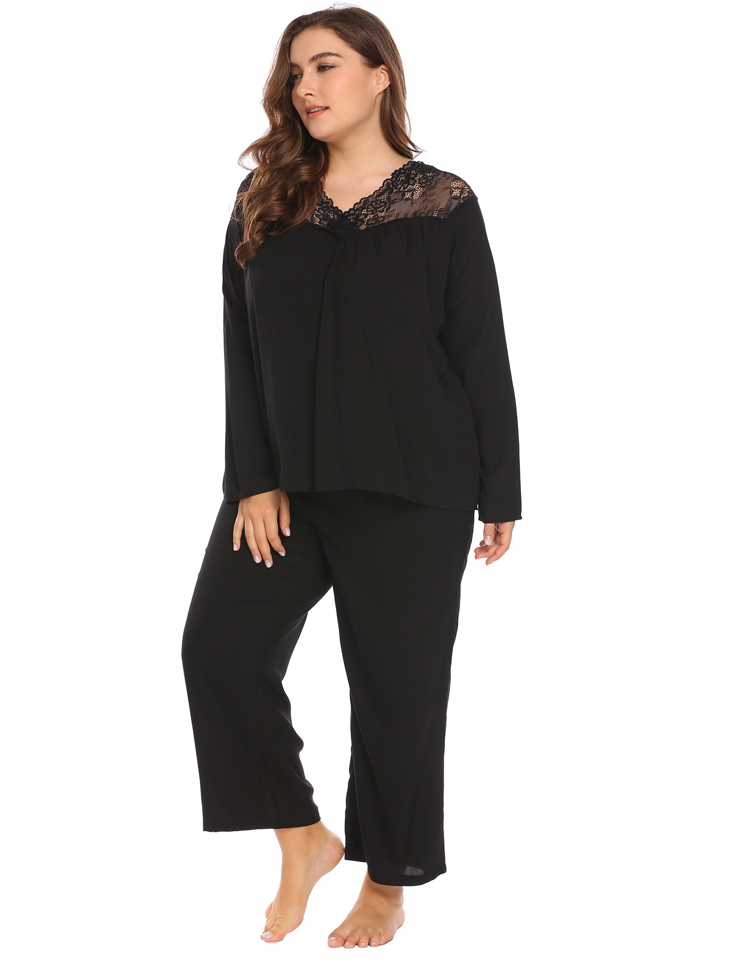 Women's Plus Size Loose Fit V-Neck Long Sleeve Soft Sleepwear Lace Patchwork Tops & Pants Pajama Set by Vpicuo