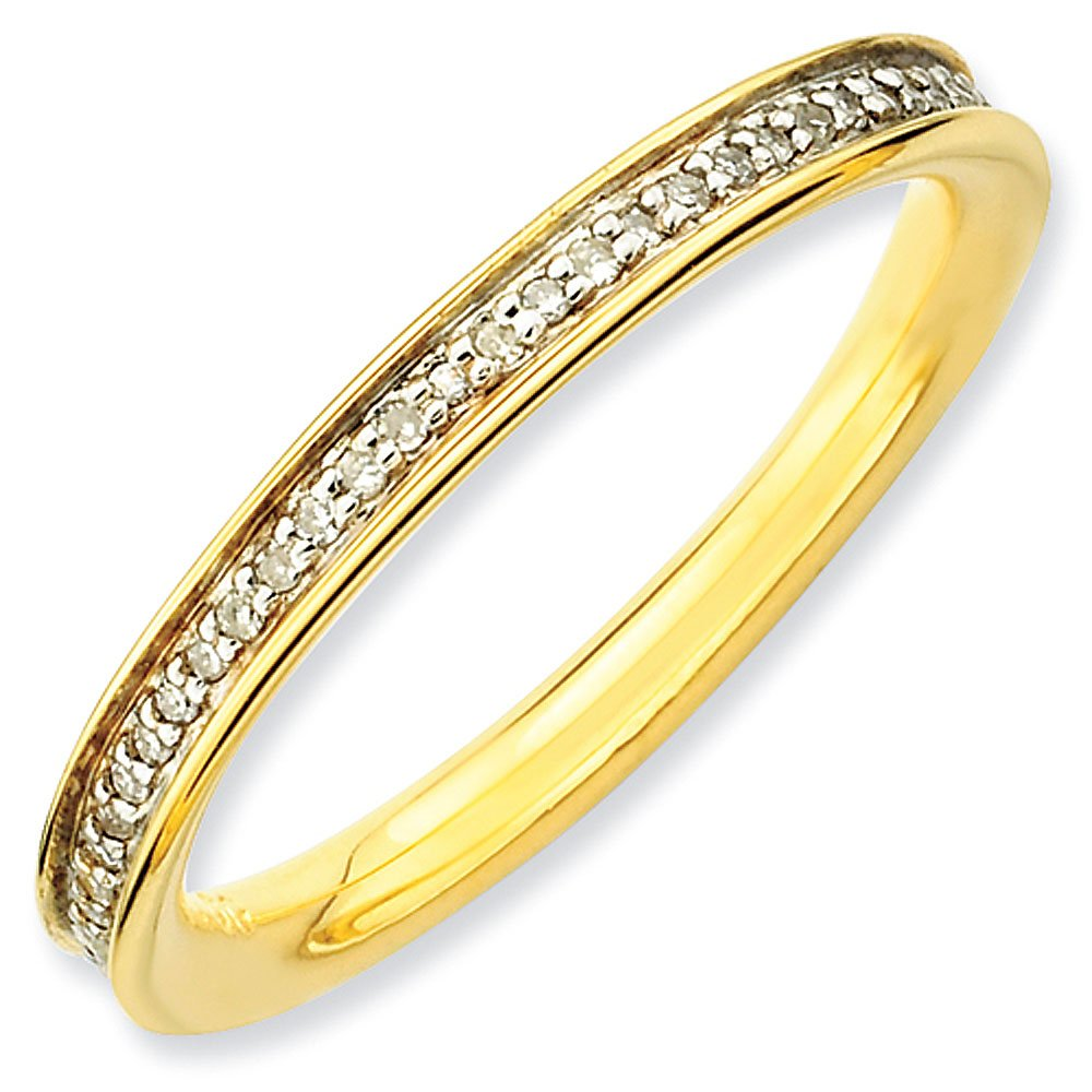 2.25mm Gold Plated Sterling Silver Stackable Expressions Diamond Eternity Ring - Size 10
