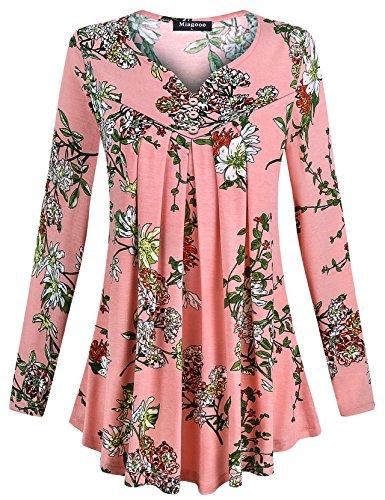 Miagooo Womens Long Shirts To Wear With Leggings, Ladies'Split V-Neck Roomy Sleeve Unique Floral Printed Office Comfy Blouses Flared Casual Tunic(Pink,Small) (Printed Pink Tunic)