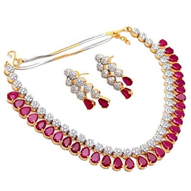 Jewar Ruby Necklace Set CZ Latest Precious Jade Pave Bridal 4887