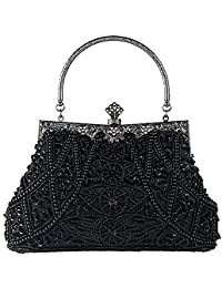 Women s Vintage Style Beaded And Sequined Evening Bag Wedding Party Handbag  Clutch Purse c250a696f8a98