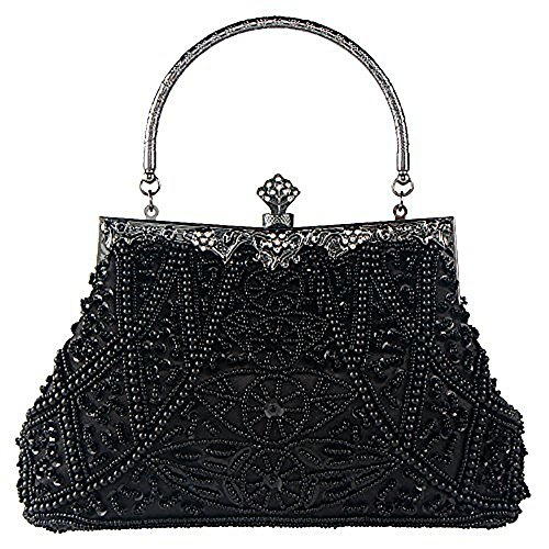Bagood Women's Vintage Style Beaded And Sequined Evening Bag Wedding Party Handbag Clutch (Beaded Purse Handbag Bag)