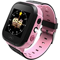 Ownsig-Reloj Inteligente para niños, rastreador LBS para niños niñas cumpleaños con cámara SIM Llamadas Anti-pérdida SOS Smartwatch Pulsera para iPhone Android Smartphone-Rosa