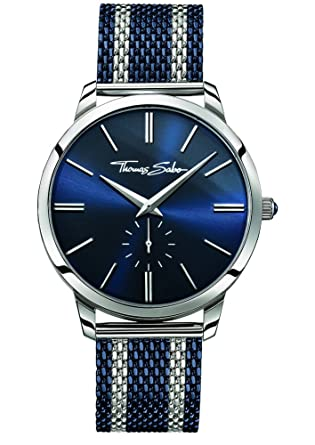 a9615f437f0 Image Unavailable. Image not available for. Color  Thomas Sabo Mens Rebel  Spirit Two Tone Steel Mesh Strap Blue Dial WA0268-281-