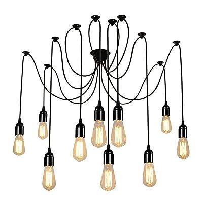 à suspendre au plafond lumières vintage Plusieurs réglable DIY Pendentif Araignée d'éclairage Chandelier E26pour le salon (, 10-lights