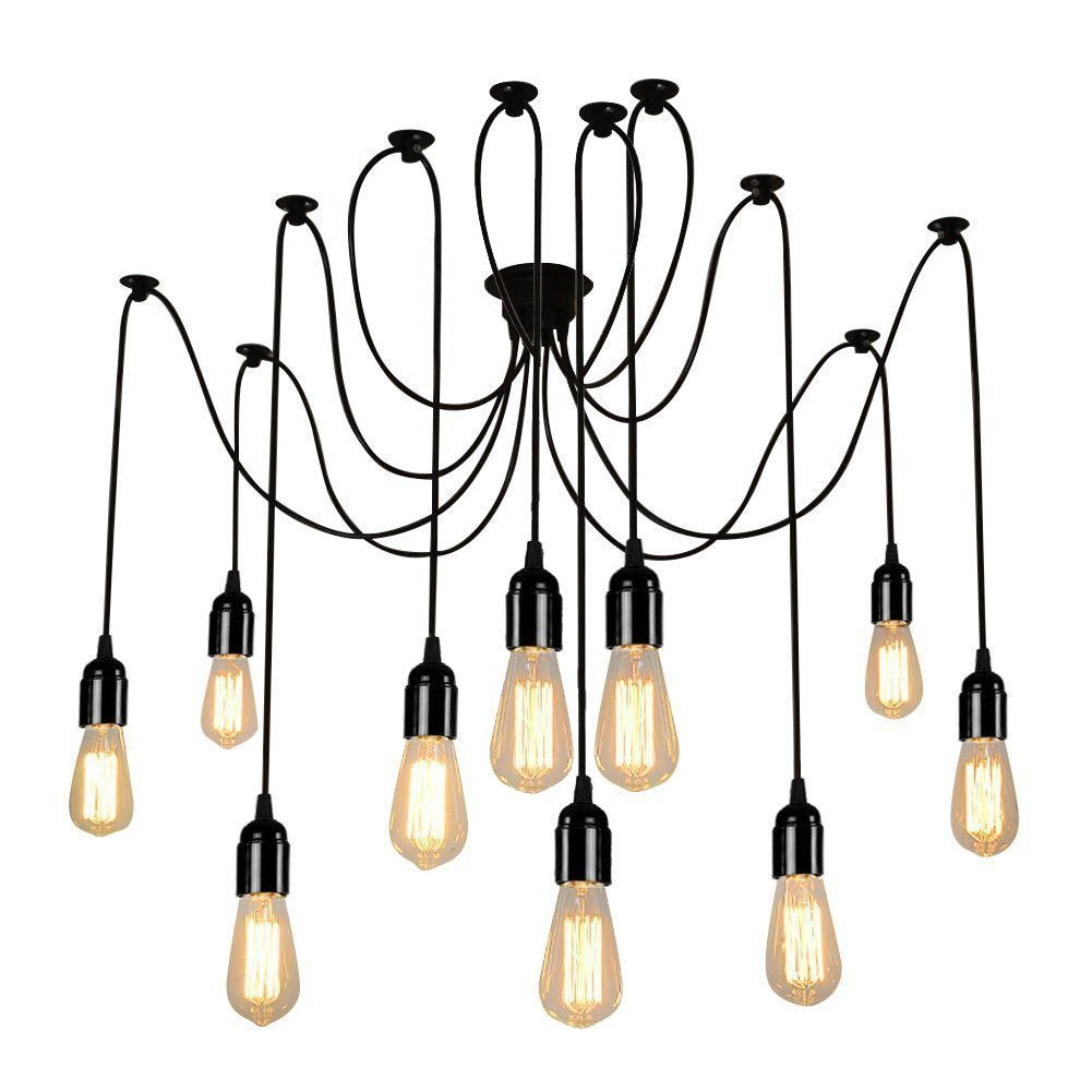Lightess Spider Pendant Lighting 10 Heads Edison Chandelier Vintage With Wiring 12 3 Wire On 2 Switch Diagram Multiple Adjustable Diy Ceiling Light Kit Cy B10