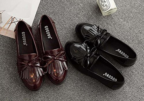 On Simple Tassel Shoes Color Casual Shoes Ballerina Slip Fashion Flats 40 Pump Women Size 34 Toe Loafer Bowknot Court Pure Round Eu Work Brown Y7zYqxPw4