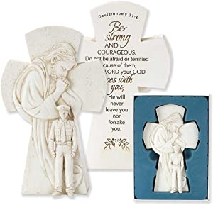 Dicksons Praying Jesus Over Police Officer 7.5 inch Resin Stone Table Top Cross Figurine