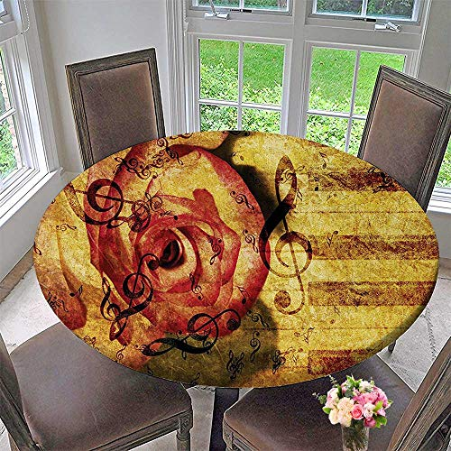"""Elasticized Table Cover Vintage Background with Piano Keyboard and Grand Majestic Rose Melodic Love Art Theme Machine Washable 40""""-43.5"""" Round (Elastic Edge)"""