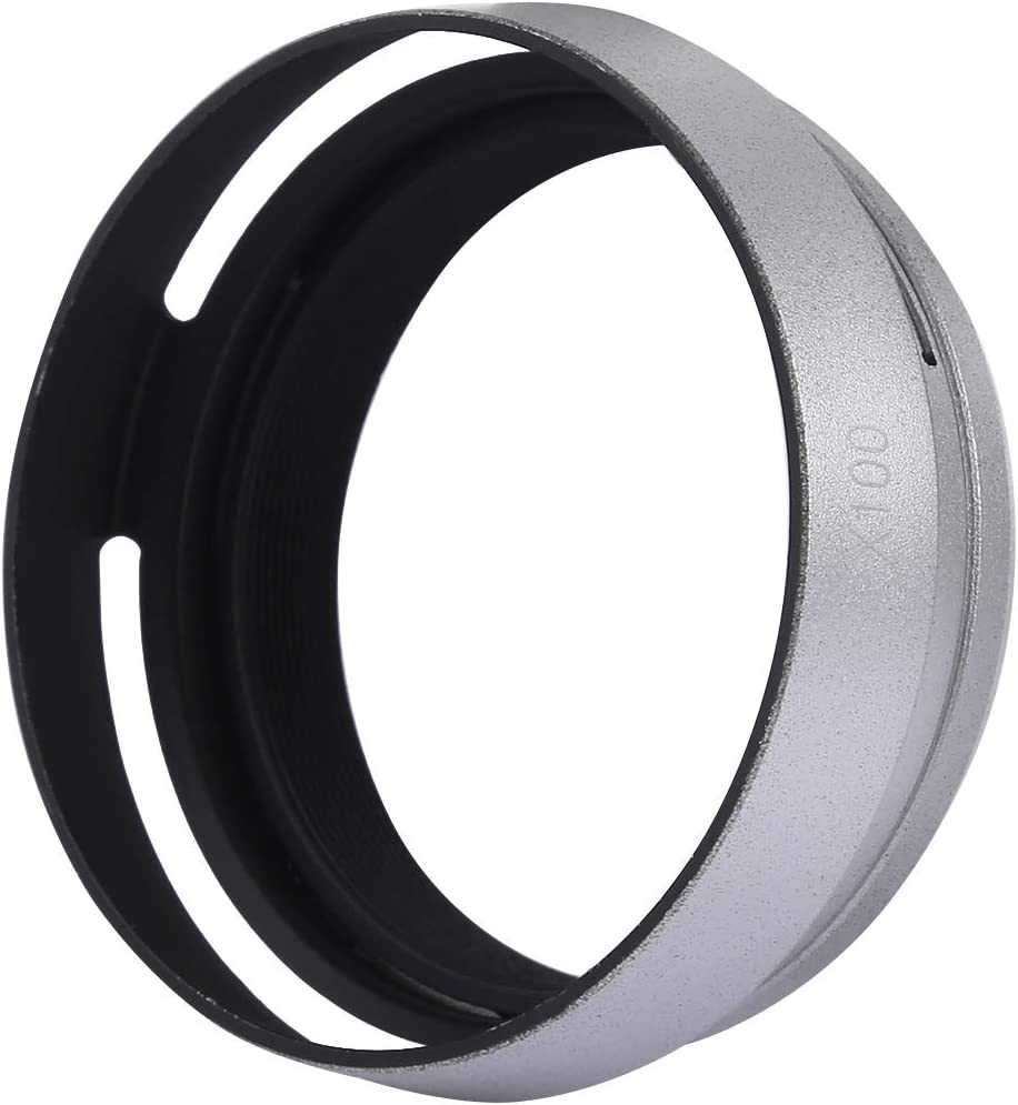 Color : Silver LAILINSHENG Camera Accessories 49mm Metal Vented Lens Hood for Fujifilm X100 Black