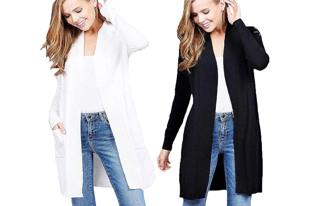 Black White CIELO Women's Long Sleeve Sweater Duster Cardigan