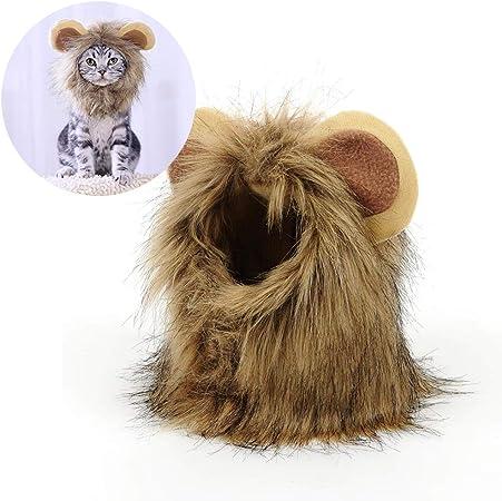 C αγάπη Ζ Tocado para Mascotas de Halloween, Peluca de Melena de león, Cabello de león cómodo, Lavable y Ajustable, Adecuado para Decorar la Fiesta de Navidad,S: Amazon.es: Hogar