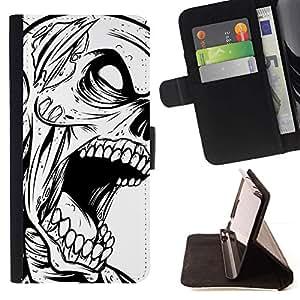 Momo Phone Case / Flip Funda de Cuero Case Cover - Zombie Skull - Goth B&W - Samsung Galaxy Note 3 III