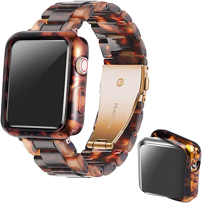 Omter Band with Case Compatible with Apple Watch 44mm 42mm 40mm 38mm, Women Men Fashion Resin Band Strap Compatible with iWatch Series SE/6/5/4,Series 3/2/1(Tortoise-Tone, 38mm)