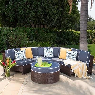 Riviera Ponza al aire libre muebles de jardín mimbre juego de 4 semicircular seccionales sofá asiento juego de w/cojines impermeable (estándar Otomano, azul marino): Amazon.es: Juguetes y juegos