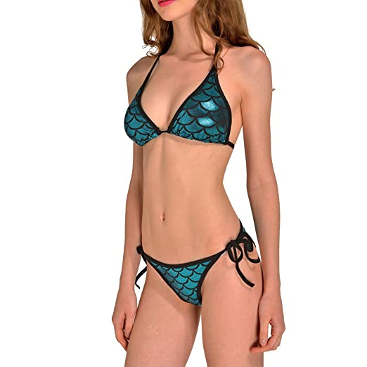 459e22dacc Amazon.com  Lesubuy Shiny Lake Blue Mermaid Tail Cute Fish Scales Strappy  Halter Triangle Bikinis Sets Two Piece Swimsuits For Women