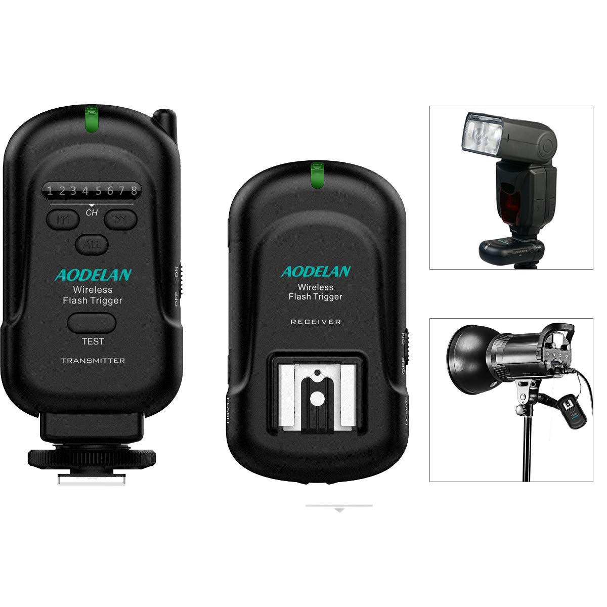 AODELAN Wireless Flash Trigger Transmitter and Receiver 2.4 GHz Frequency for Canon, Nikon, Olympus, Panasonic, Pentax, Fuji, Samsung,Sony(Except Sony Flashes)