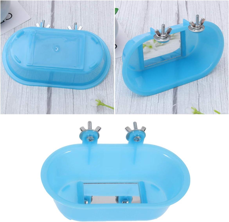 POPETPOP baño de pájaros para pájaros enjaulados, baño de pájaros con Espejo, baño de pájaros pequeños para Jaula, bañera para Loros, Piscina para niños, bañera de pájaros con Espejo Inferior
